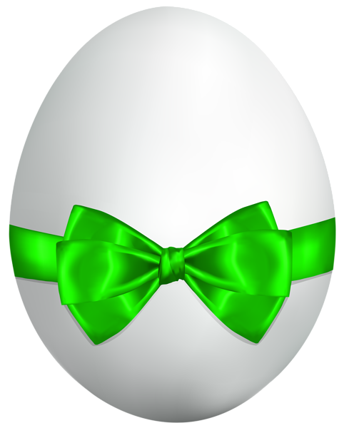 482x600 White Easter Egg With Green Bow Png Clip Art Image Other Tubes