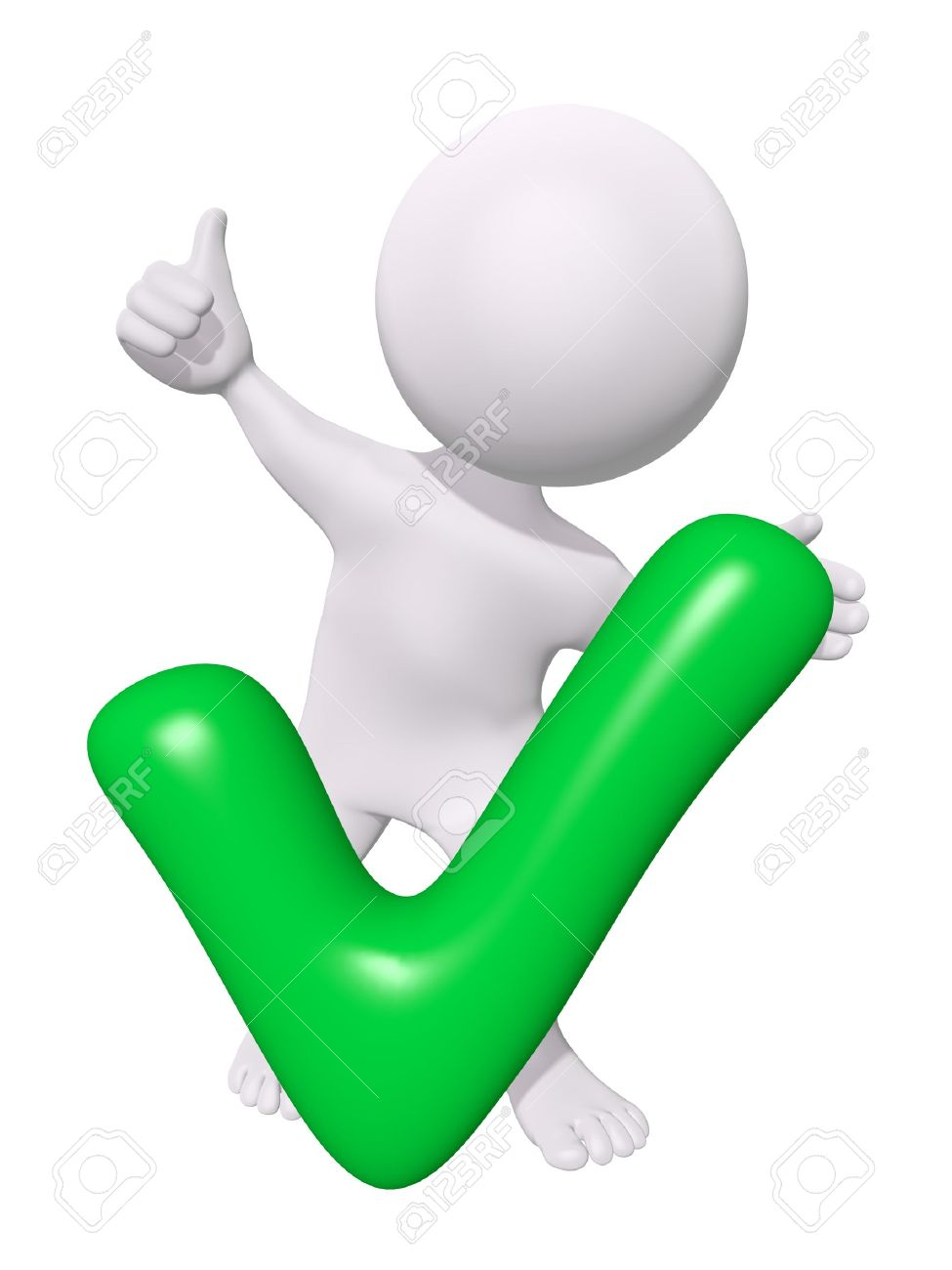 975x1300 3d Man With Green Check Mark Stock Photo, Picture And Royalty Free