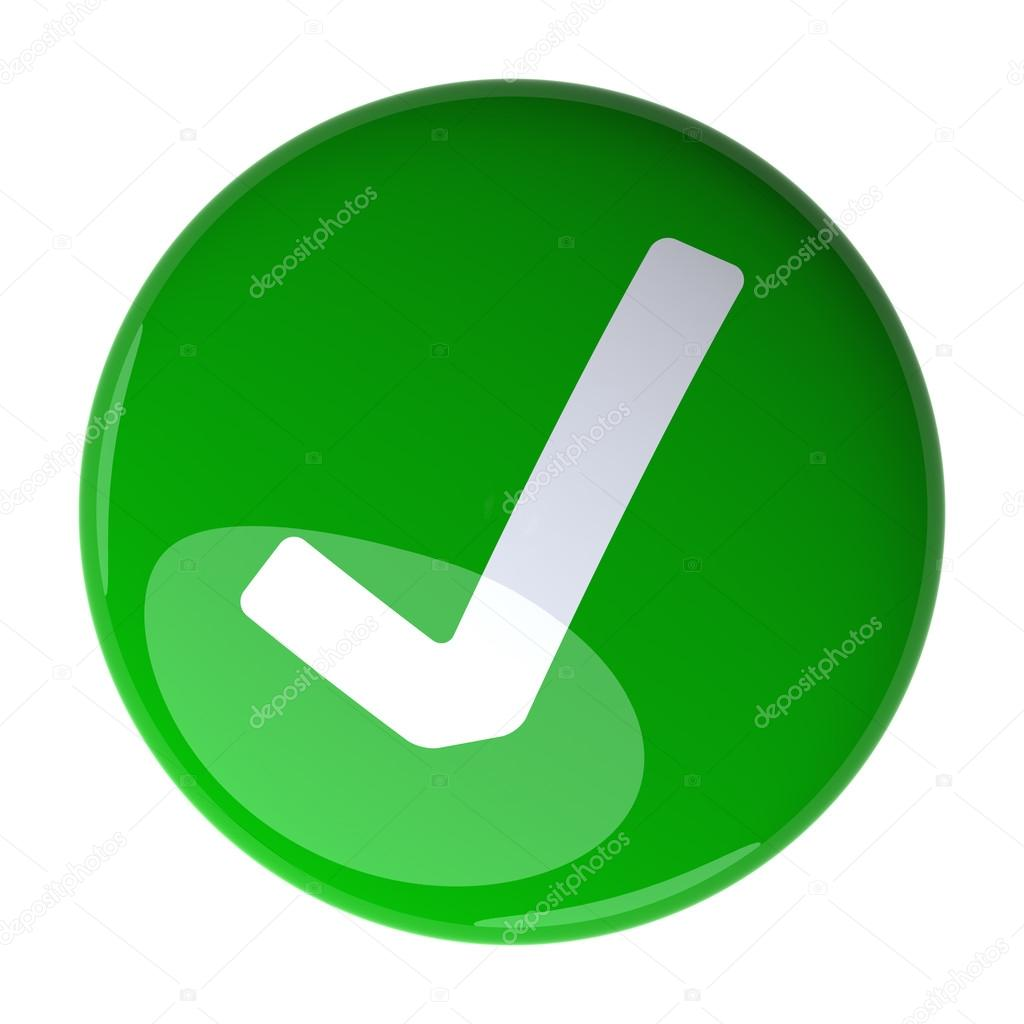 1024x1024 Green Check Mark Button. Digitally Generated 3d Image. Stock