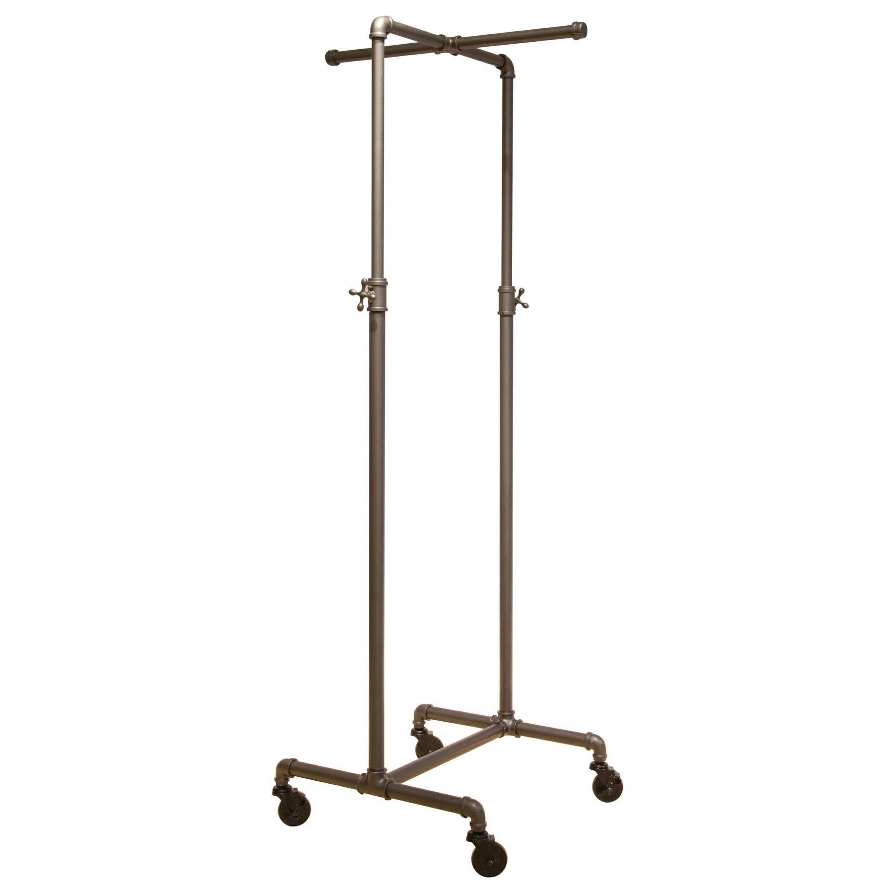 1800x1800 Coal Grey Single Rail Pipeline Collection Rolling Clothing Rack (W
