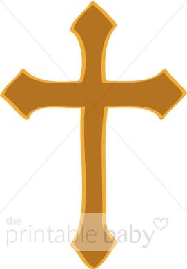 271x388 Gold Artistic Cross Christian Baby Clipart