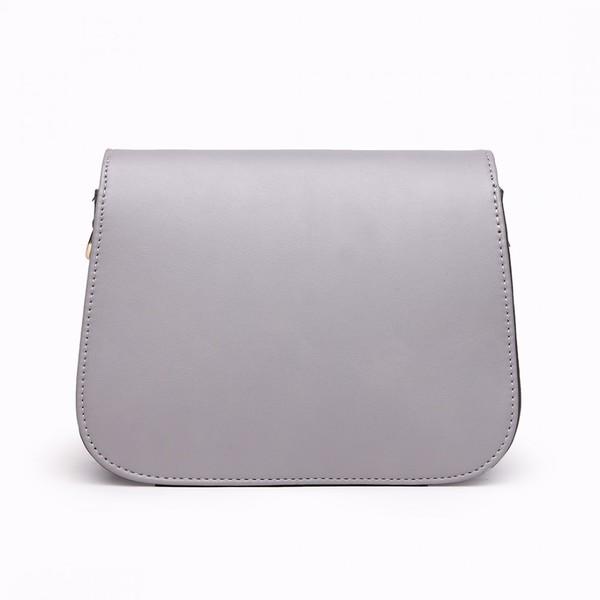 600x600 Miss Lulu Leather Look Cross Body Satchel Bag Grey