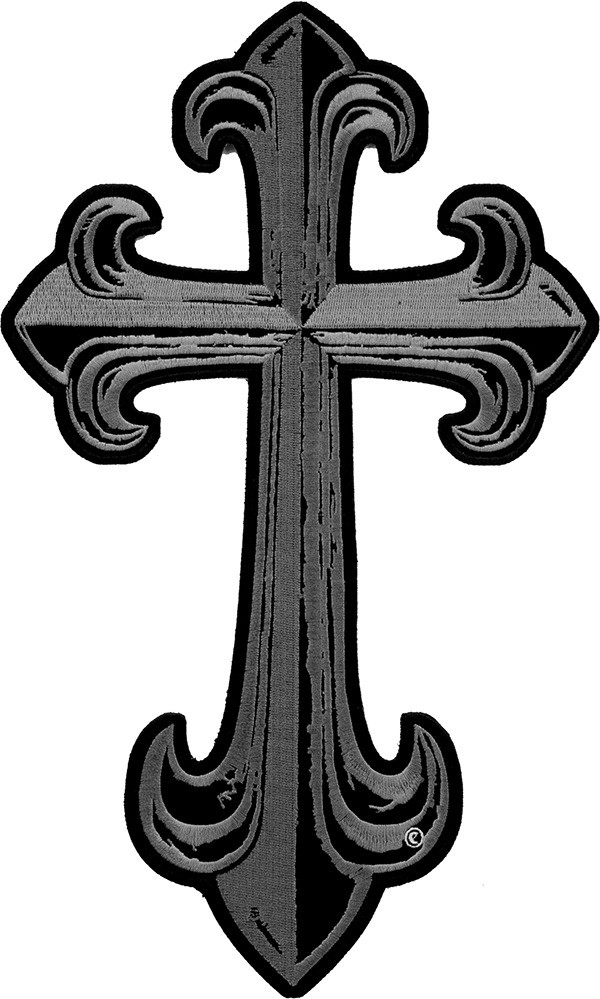 600x999 Steel Grey Cross Patch Religious Cross Patches