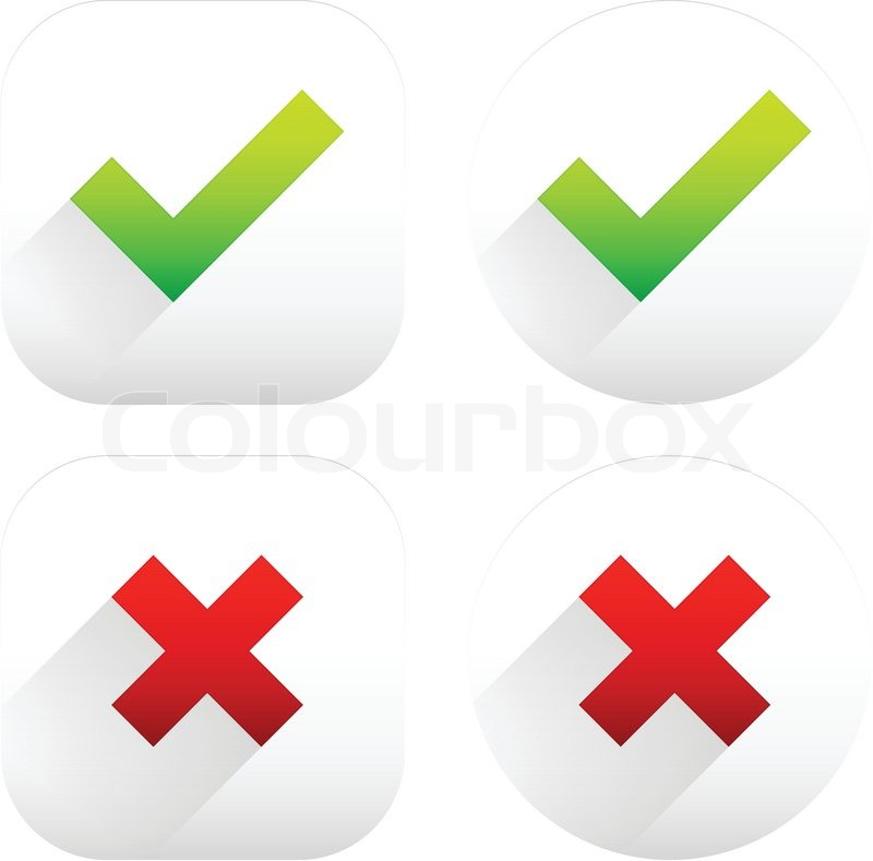 800x789 Stylish Checkmark And Cross Set With Green, Red And Grey Colors