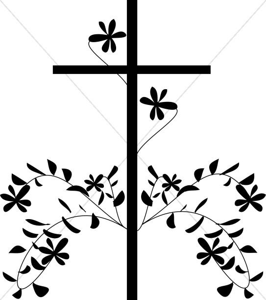 543x612 Black Cross And Flower Cross Clipart