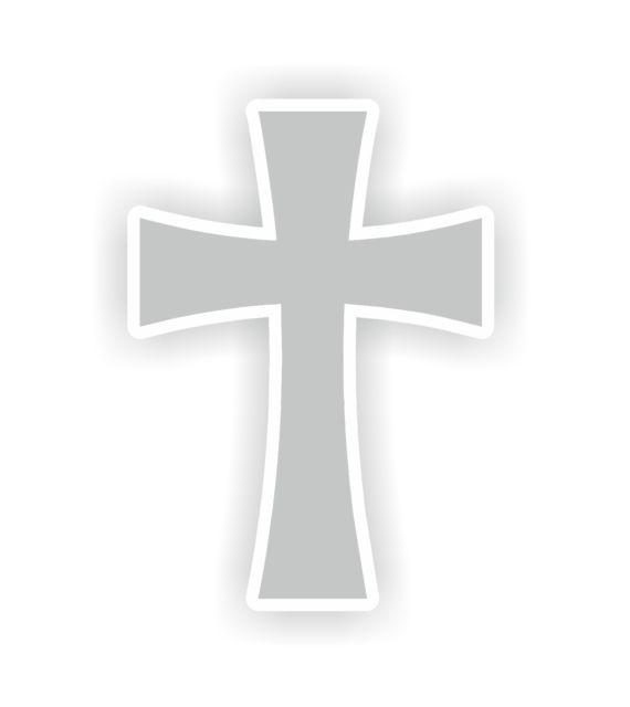 570x640 Christian Symbol Cross Grey Catholic Protestant Vinyl Sticker