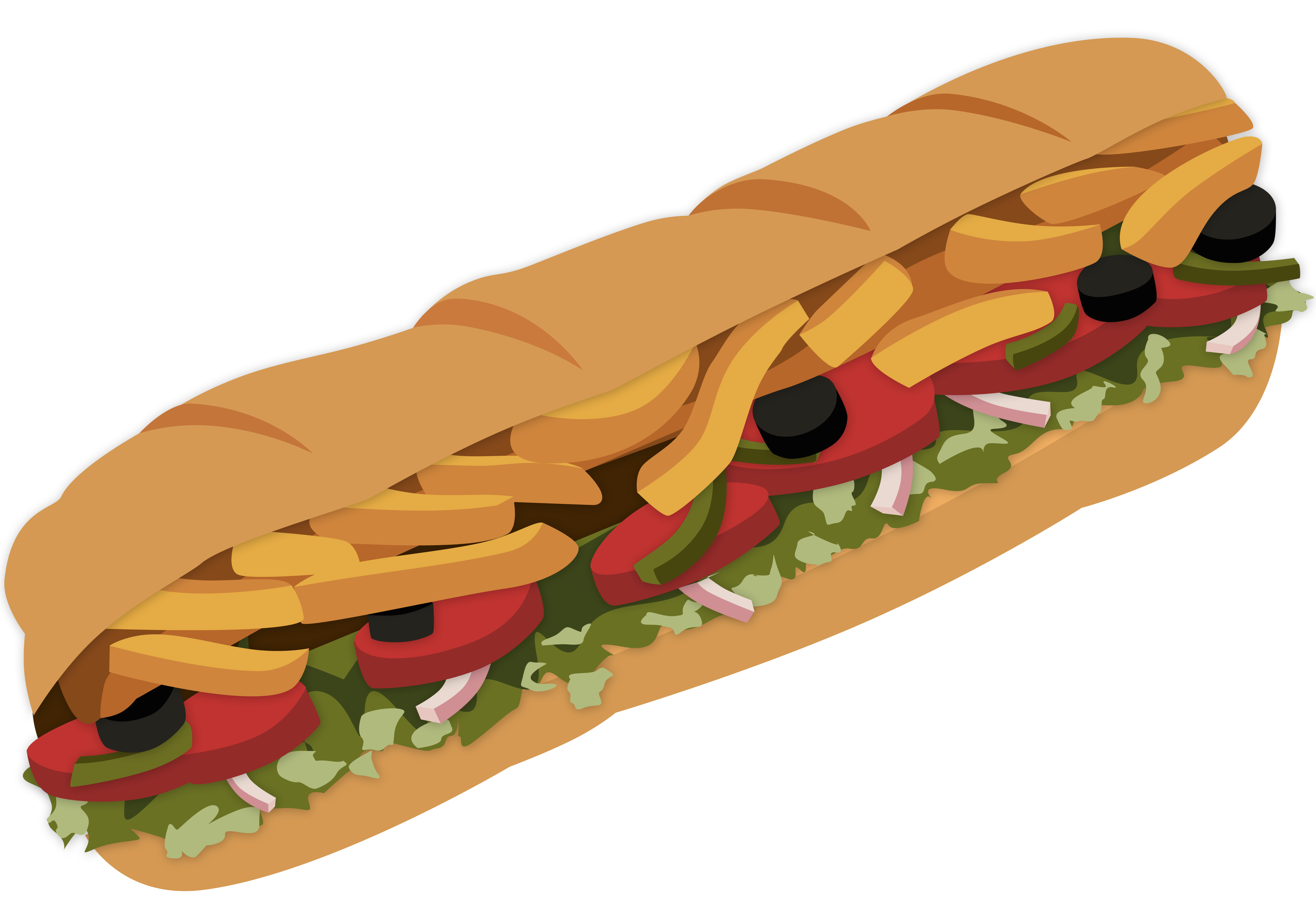 5000x3481 Clipart Sub Sandwich