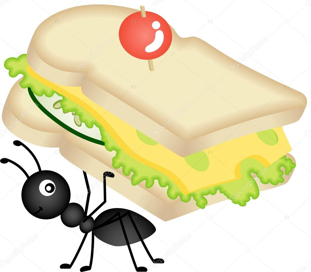 1024x894 Ant Carrying Cheese Sandwich Stock Vector Socris79