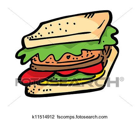 450x387 Clipart Of Sandwich Doodle K11514912