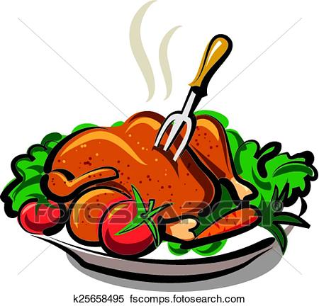 450x432 Clipart Of Hot Roast Chicken K25658495