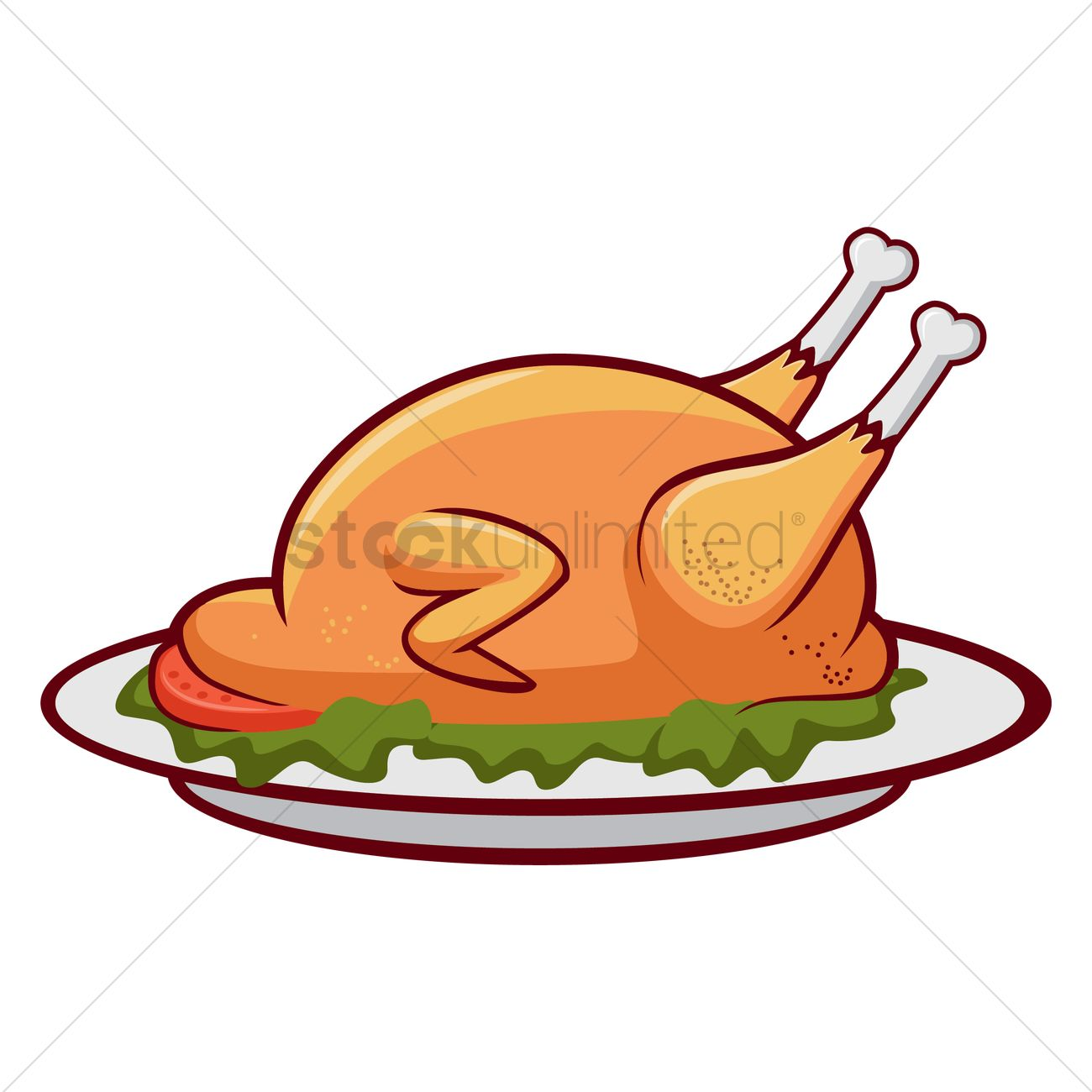 1300x1300 Roast Chicken Vector Image