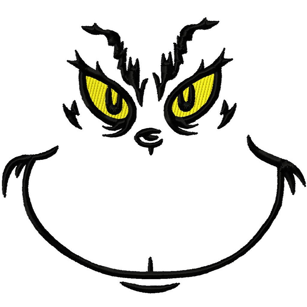 1024x1024 Grinch Black White Clipart