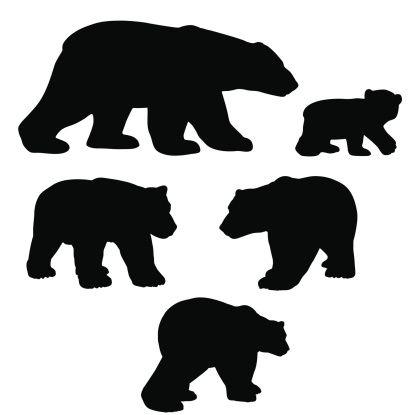 413x415 Polar Bear Silhouette Collection With Cub Vector Id165683569 (413