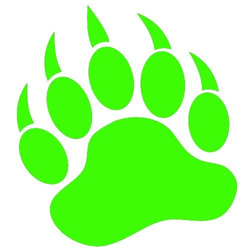 500x500 Grizzly Bear Paw Print 3.5 Lime Green Vinyl Decal