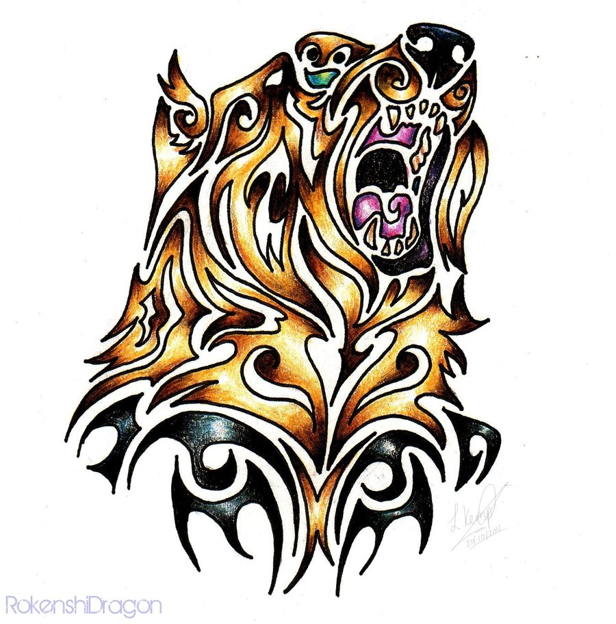 900x911 Grizzly Bear Tribal By Silhouette Tattoo, Piercing