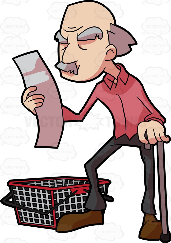 721x1024 Man Grocery Shopping Clipart