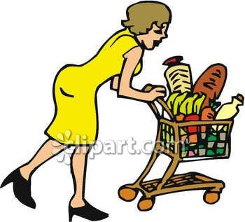 350x317 Woman Grocery Shopping, Pushing A Shopping Cart Clip Art