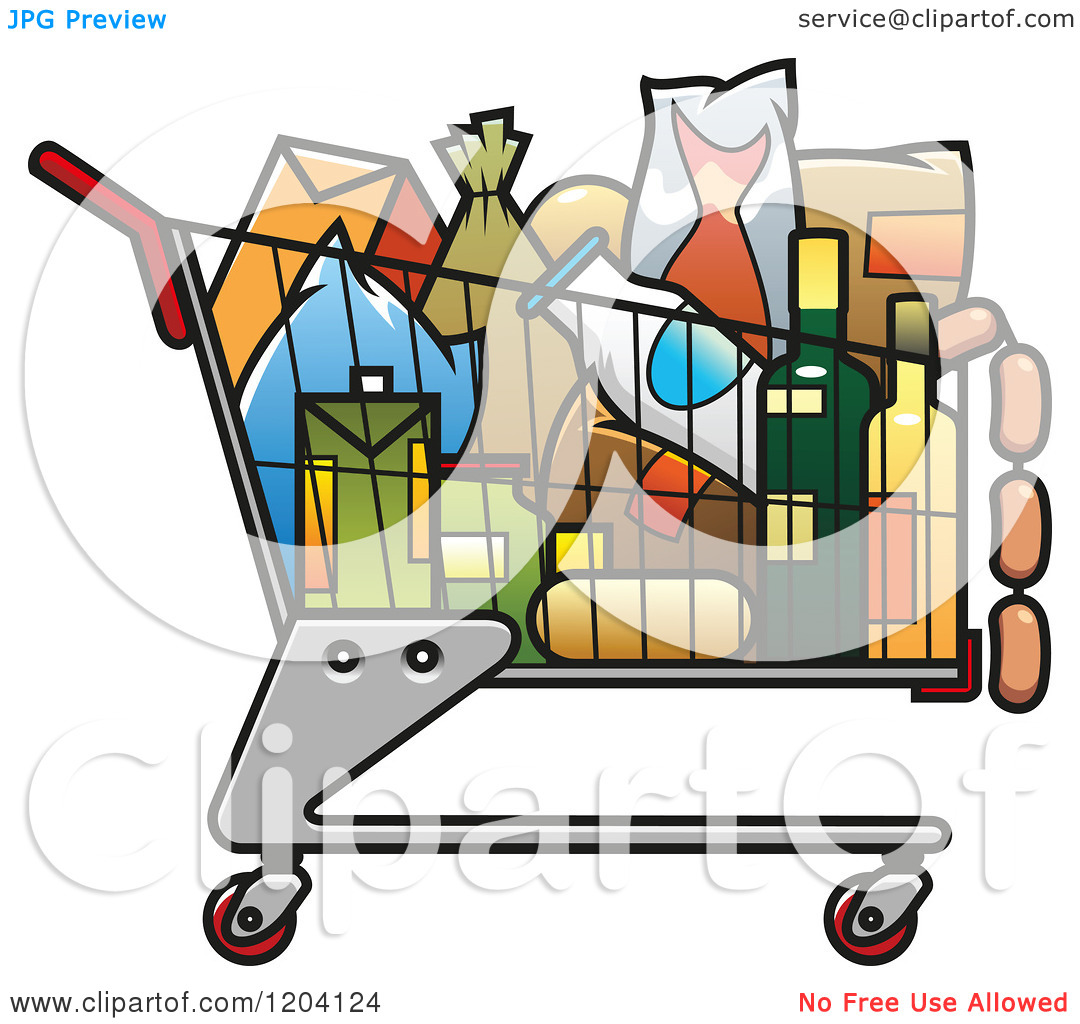 1080x1024 Shopping Cart With Food Clipart