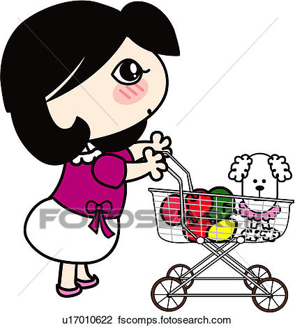 423x470 Clipart Of People, Dog, Grocery, Pet Dog, Pet, Shopping Cart