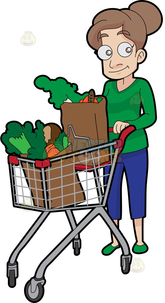 559x1024 A Woman Pushing A Grocery Cart Full Of Vegetables That She Bought