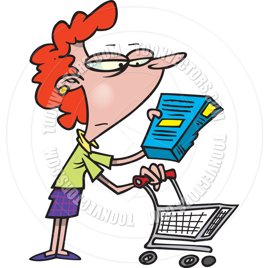 940x940 Cartoon Woman Grocery Shopping By Ron Leishman Toon Vectors Eps