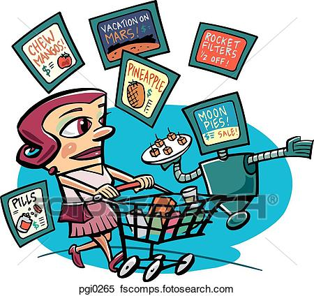 450x424 Stock Illustration Of A Woman With A Shopping Cart In A Grocery