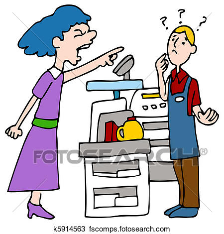 450x470 Clip Art Of Cashier Working In The Grocery Store K19095867