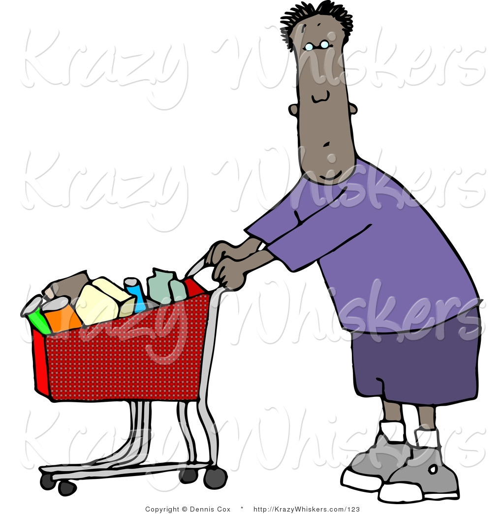 1024x1044 Critter Clipart Of An Ethnic Man Going Grocery Shopping