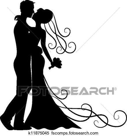 440x470 Clipart Of Kissing Groom And Bride K11875045