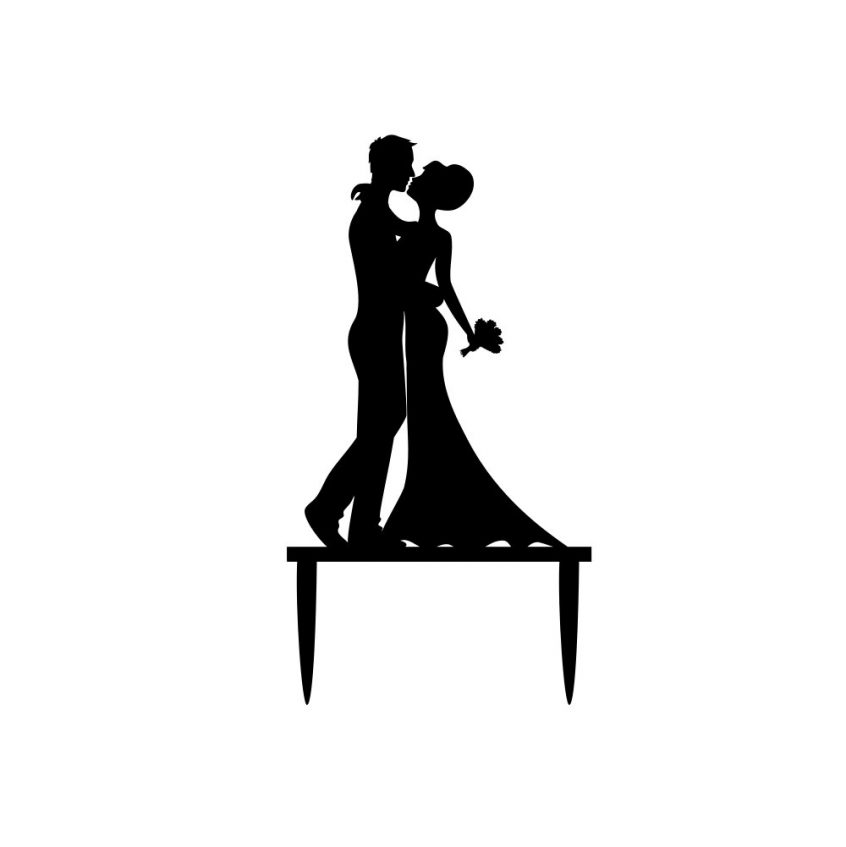 846x847 Dancing Bride And Groom Cake Topper Clipart Silhouette Clip Art