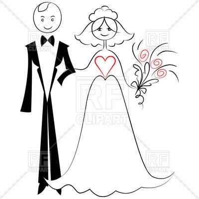 400x400 Sketch Of Bride And Groom Royalty Free Vector Clip Art Image
