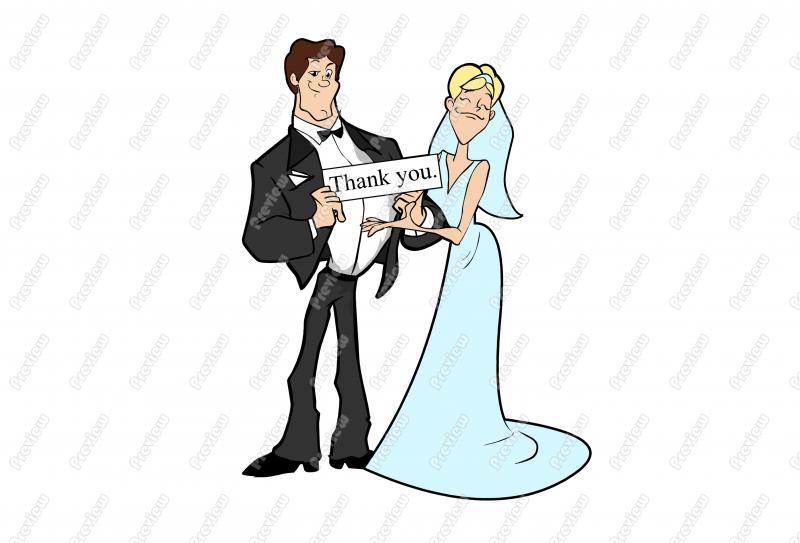 800x543 Bride And Groom Thank You Character Clip Art