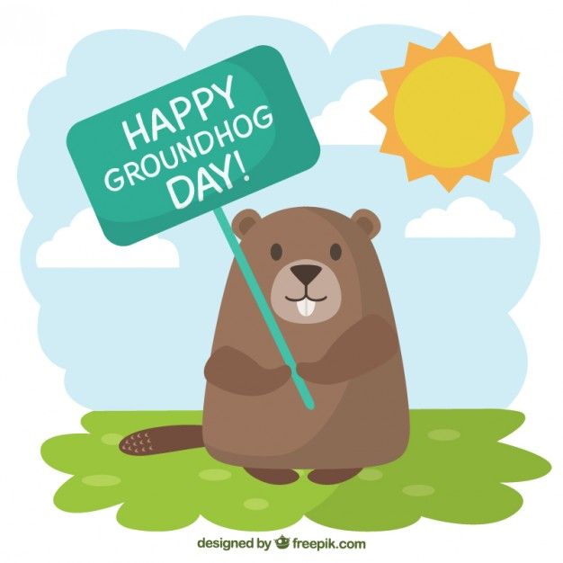 626x626 Groundhog With A Greeting Poster Illustration Vector Free Download
