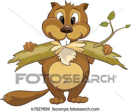 450x384 Clipart Of Cartoon Character Beaver K7027694