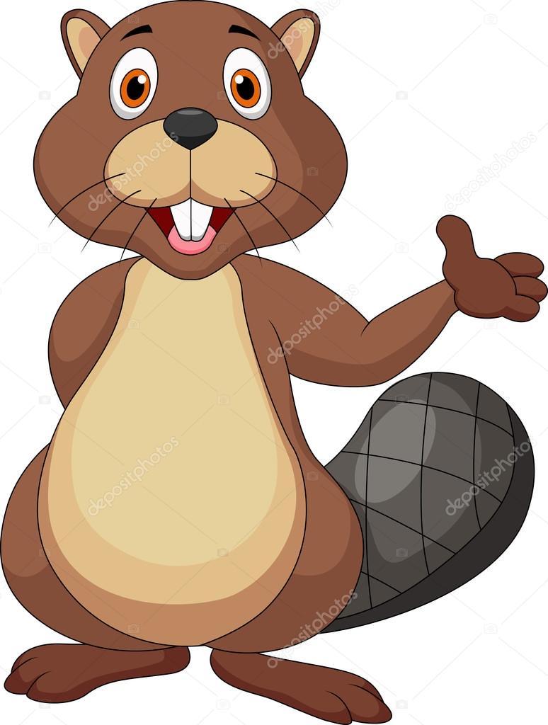 774x1024 Cute Beaver Cartoon Waving Hand Stock Vector Tigatelu