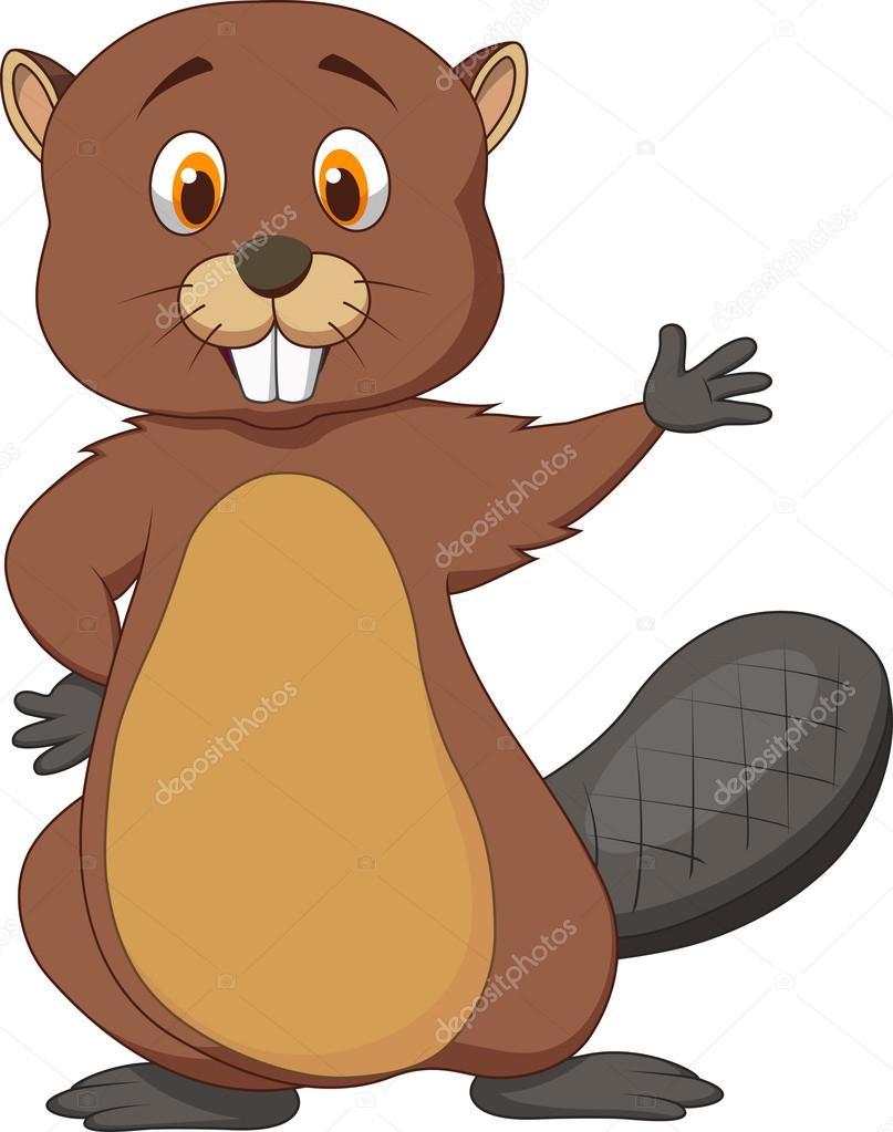 807x1023 Beaver Cartoon Waving Hand Stock Vector Tigatelu