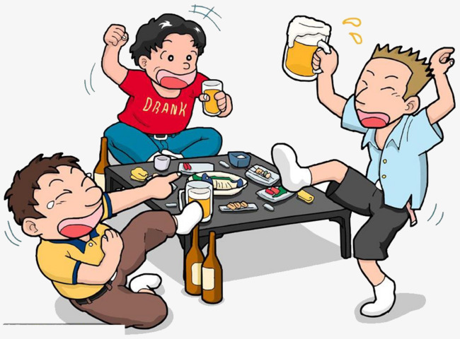 650x480 Cartoon In A Group Dinner, Drink High, Beer, Get Together Png