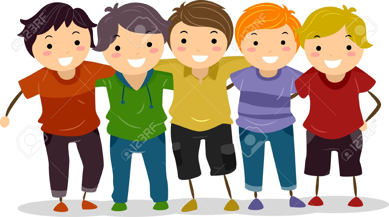 1300x726 Illustration Of A Group Of Boys Huddled Together Stock Photo