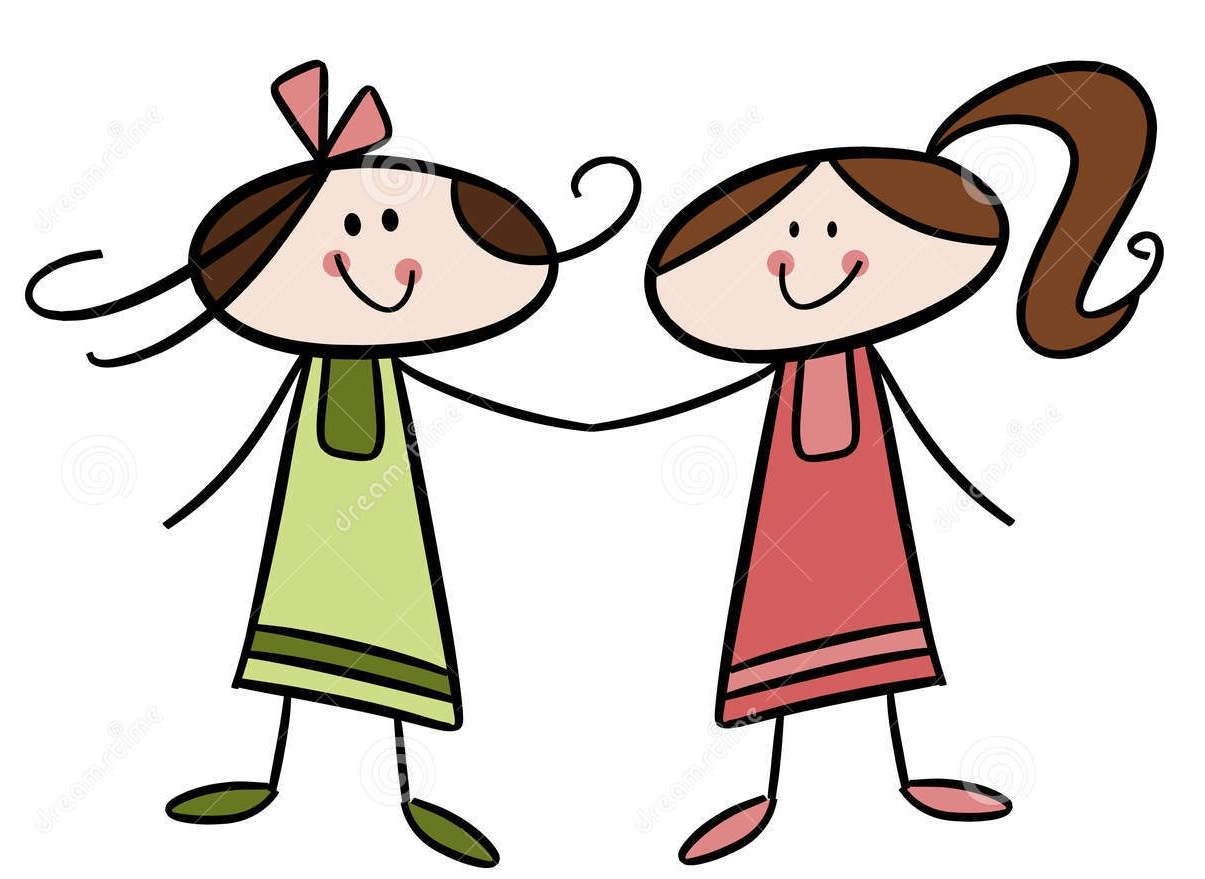 1205x879 Girl With Friends Clipart