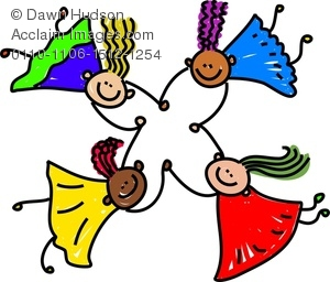 300x256 Group Of Happy Little Diverse Girl Friends Clipart Image