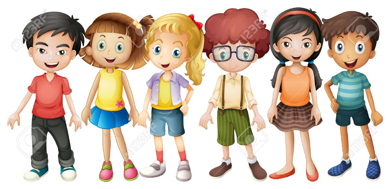 1300x631 Boys And Girls Standing In Group Illustration Royalty Free