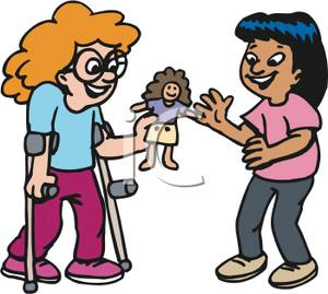 300x269 Cartoon Girls Playing With A Doll Clip Art Image