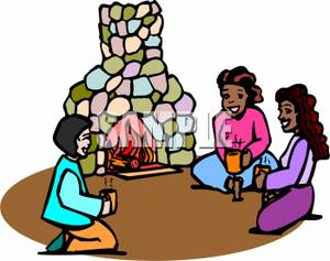 300x237 Group Of Girls Sitting Around A Fire With Hot Chocolate Clipart