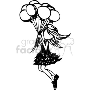 300x300 Royalty Free Girl Floating Away With A Group Of Balloons 384737
