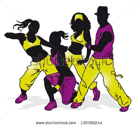 450x411 Vector Illustration Black Silhouettes Dancing Group On White