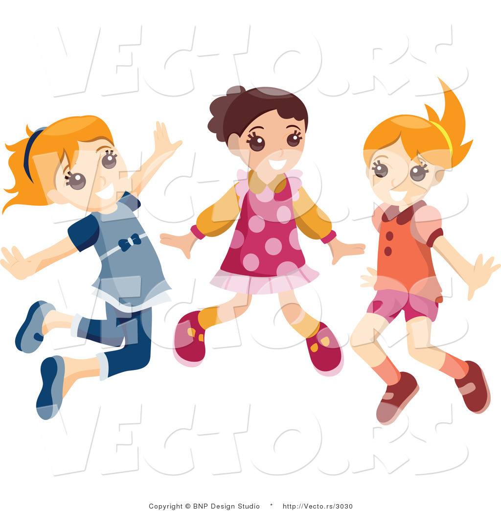 1024x1044 Vector Of Group Of Three Energetic Happy Girls Jumping By Bnp
