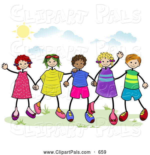 600x620 Pal Clipart Of A Group Of Diverse Stick Children Holding Hands