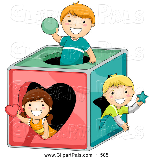 600x620 Pal Clipart Of A Group Of Three Kids Playing In A Shape Box By Bnp