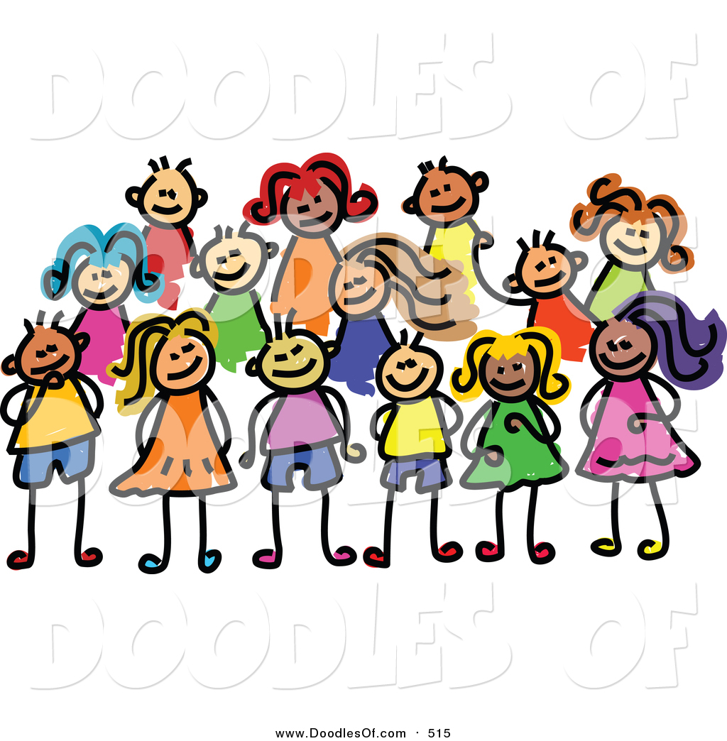 1024x1044 Vector Clipart Of A Doodled Posing Group Of Kids By Prawny