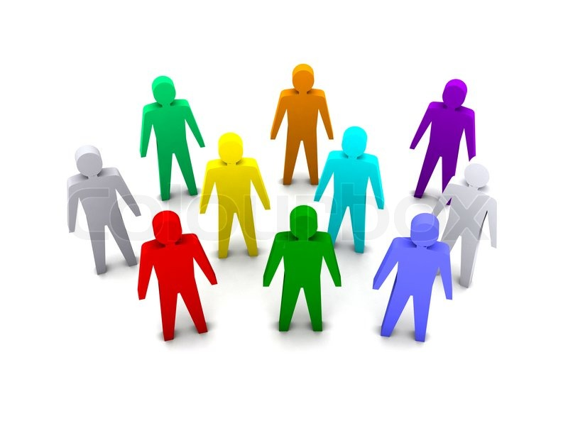 800x600 Group Of Different People Success. Concept 3d Illustration Stock